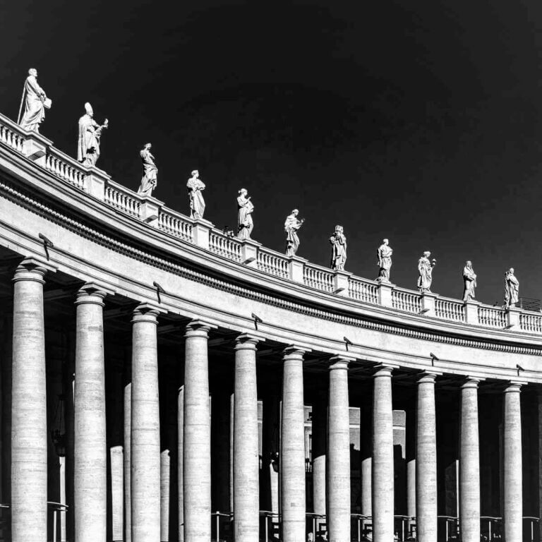 Sort-hvid billeder fra Roms centrum.
