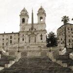 Den Spanske Trappe i Rom- Sort-hvid billede