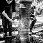 Er Nassone drikkefontæne på Piazza della Rotonda i Rom - Sort-hvid billede