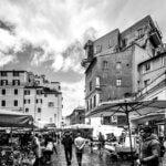 Marked på Campo de' - Sort-hvid billede