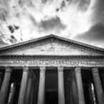 Pantheon på Piazza della - Sort-hvid billede