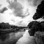Tiberfloden med Ponte - Sort-hvid billede