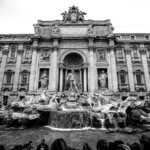 Trevi-fontænen i Rom - Sort-hvid billede